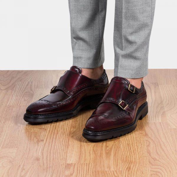 zapatos vestir hebillas burdeos