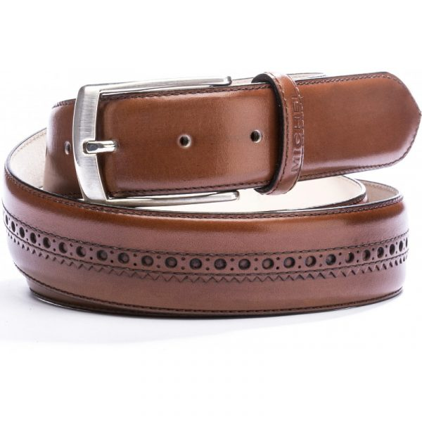 Cinturón coñac con picado