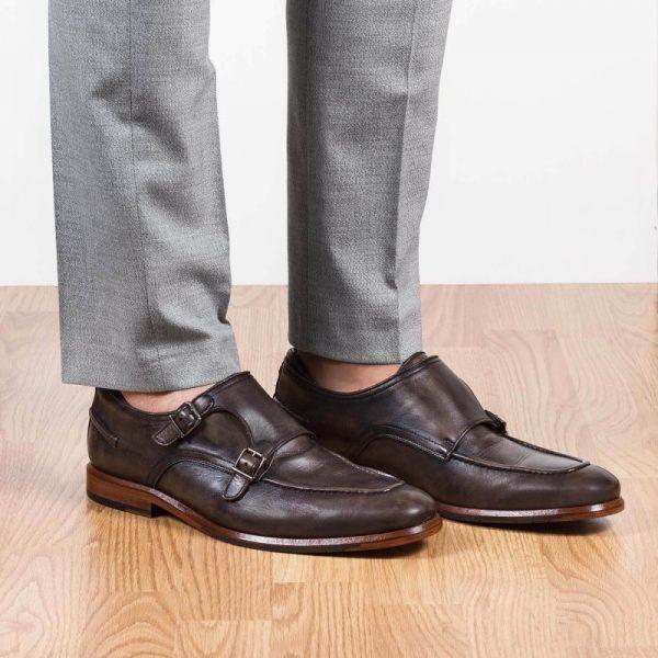 zapatos piel hebillas negro