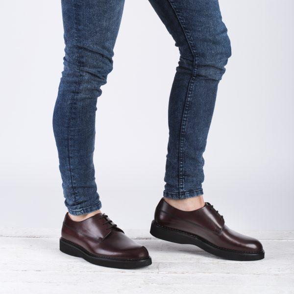 zapato piel hombre burdeos