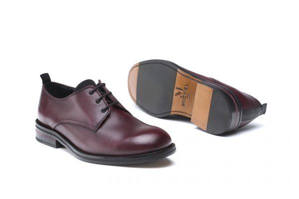 zapatos piel cordones burdeos